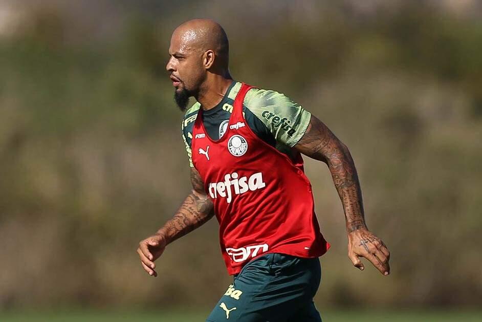 Recuperado, Felipe Melo volta a treinar com o grupo do Palmeiras após 2 meses