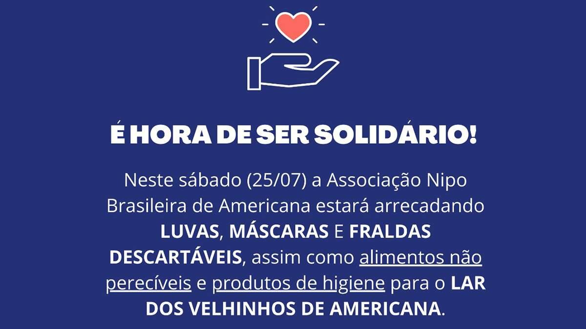 Associação Nipo Brasileira arrecada produtos para o Lar dos Velhinhos de Americana