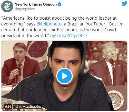 New York Times publica vídeo opinativo de Felipe Neto sobre Trump e Bolsonaro