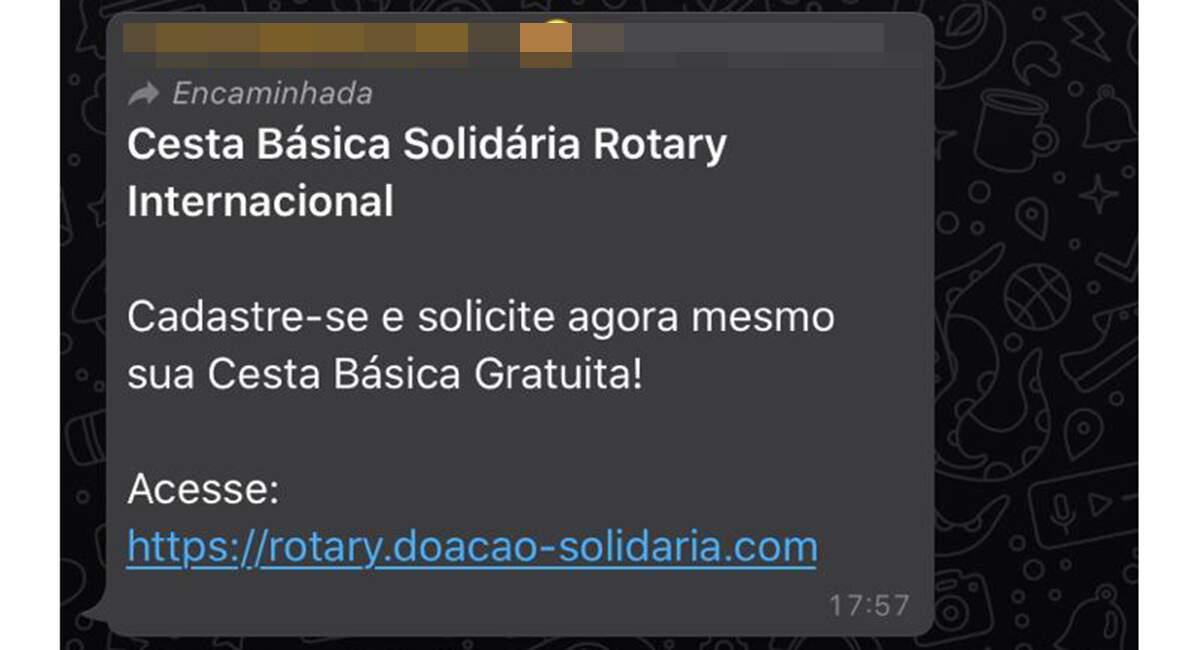 Rotary Americana alerta para golpe que oferece cesta básica em nome do órgão