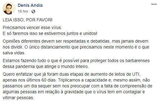 No Facebook, Andia prega união e pede que população não faça aglomerações