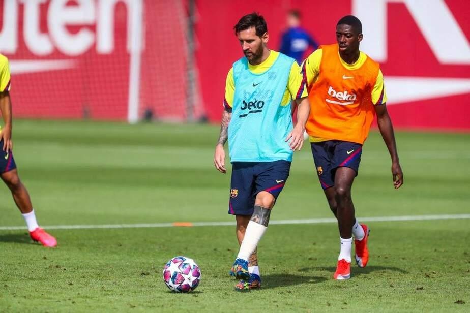 Com proteção na perna esquerda, Messi treina e deixa de ser dúvida