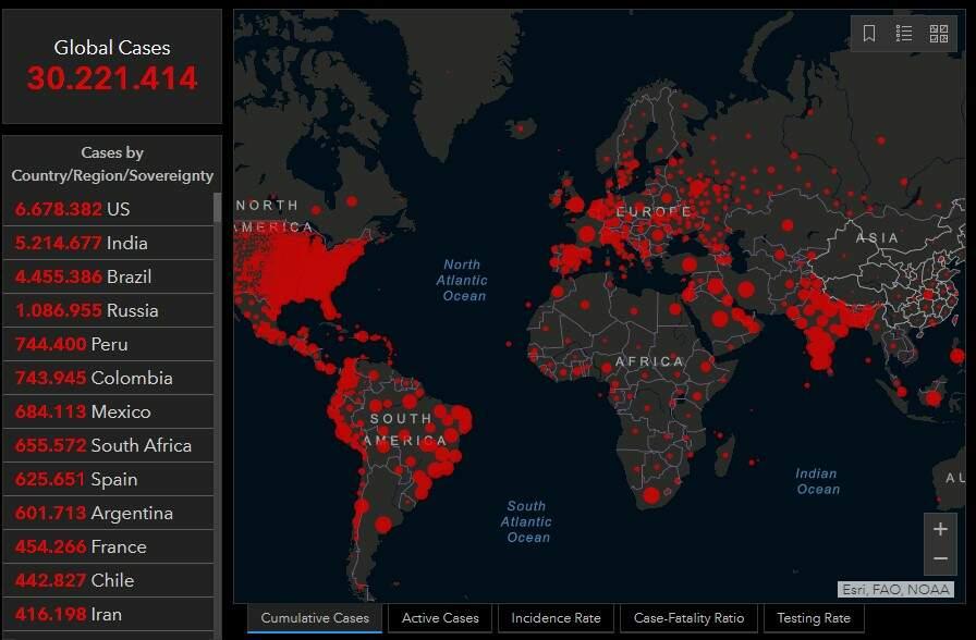 Mundo chega a 30 milhões de casos de Covid-19 e países retomam 'lockdowns'