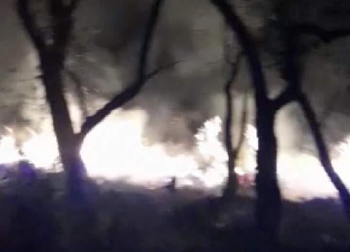 Bombeiros controlam incêndio em área de mata na Praia Azul