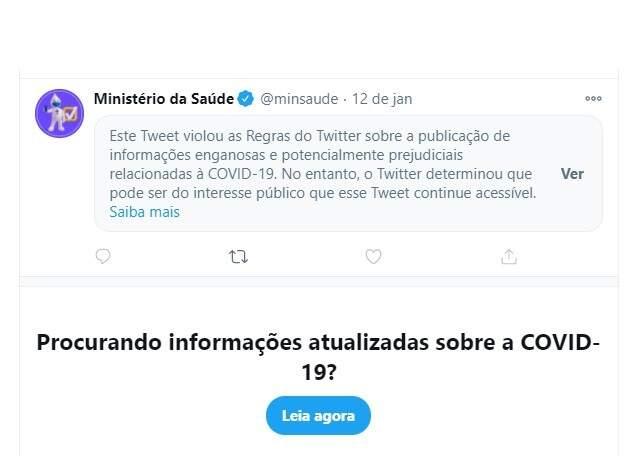 Twitter aponta publicação do Ministério da Saúde como 'enganosa'
