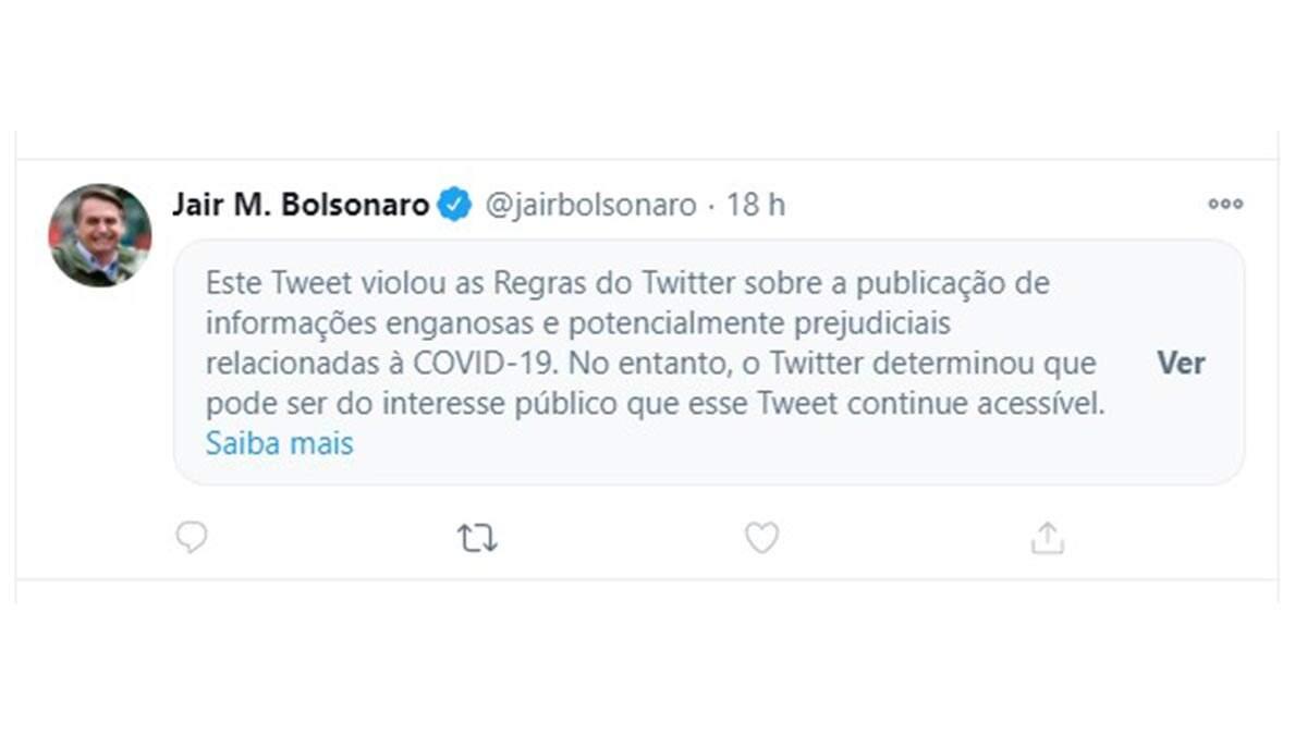 Twitter marca 'enganoso' em post de Bolsonaro