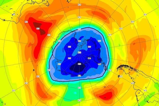 Buraco maior que a Antártida é registrado na camada de ozônio sobre o Polo Sul